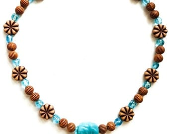 Blue Glass and Wood Tone Necklace