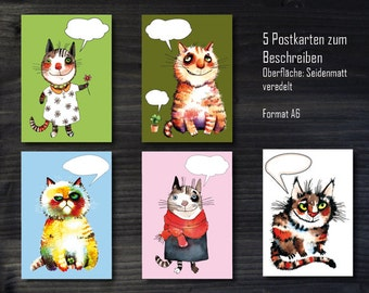 5 piece post cards to fill out, balloon cat