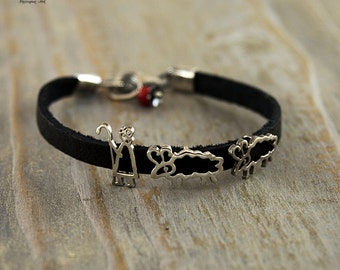 Silver Bracelet -Shepherd with his sheep on the black leather string.Travel.Mountain jewelry.Trips