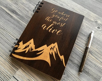 A5 Wood Journal Gift for Boyfriend Wood Notebook Motivational Quotes Journal Inspirational Quotes Sketchbook Engraved Notebook Gifts for Him