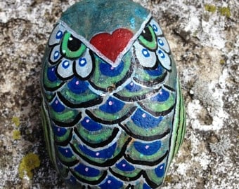 Owl Painting on River Rock