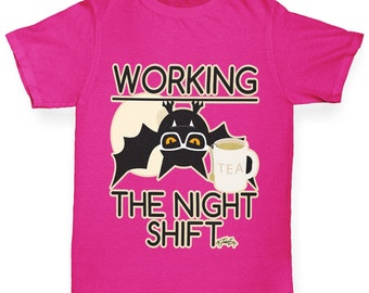 Girl's Funny Bat Working The Night Shift T-Shirt