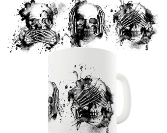 Speak No Evil, See No Evil, Hear No Evil Skulls Ceramic Tea Mug