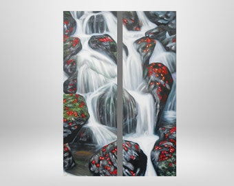 Waterfall, Earth, original oil painting with structure, water