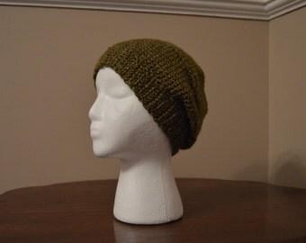 Green, crochet beret
