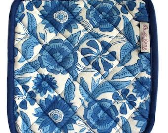 Indian Blue Wood-Block Printed Potholder