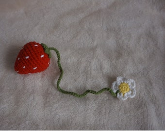 handmade strawberry keychain crochet strawberry decoration for bags and purse bag charm bag ornaments