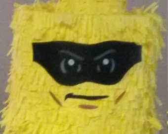 Lego Brick Head super boy hero Piñata. Handmade. New