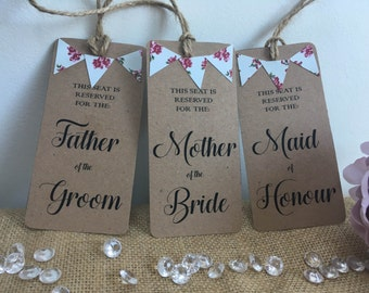 Wedding reserved seat hangers, wedding, chair hangers, chair tags, wedding table tags, wedding decor, rustic wedding, place settings