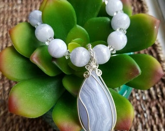 Blue Lace Agate Sterling Wire Wrapped Pendant Necklace Set