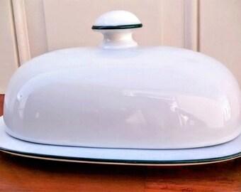 Vintage Dansk Bistro White Butter Dish and Lid, Porcelain Butter Dish with Lid, Oval Butter Dish, White Butter Dish, Ceramic Butter Dish