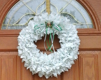 White and green spring cloth wreath