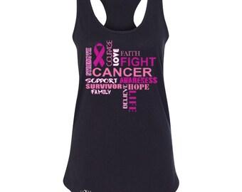 Cancer Support Survivor Cancer Pink Ribbon Breast Cancer Shirt Women's Racerback Tank Top Cancer Awareness Tanks