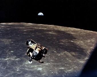 Apollo 11 Earth View as the Lunar Module 'Eagle' Leaves the Moon - 5X7, 8X10 or 11X14 NASA Photo (EP-048)