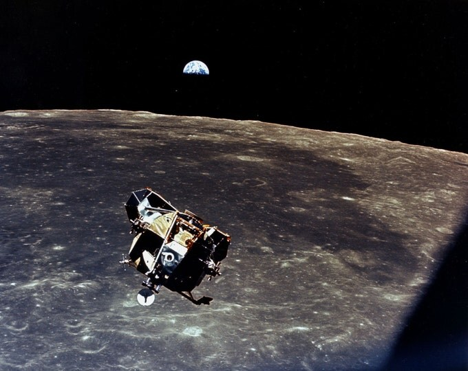Apollo 11 Earth View as the Lunar Module 'Eagle' Leaves the Moon - 5X7, 8X10 or 11X14 NASA Photo (EP-048)