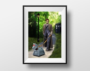 Doctor Who K9 - Digital Illustration printed on A4 photopaper and post