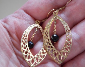 Thai Black Spinel Earrings in 14K Yellow Gold overlay 925 Sterling Silver Shepherds Hook Style