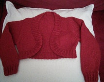 Lovely hand knitted red sparky girls bolero jacket age 2-3 years  long sleeved red bolero age 2-3 perfect for Christmas