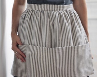Half Apron with Pockets, Blue, Cotton, Ticking Stripe, Crafting, Cooking, Gardening, Art
