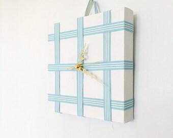 Check Blue Ribbon Canvas Clock