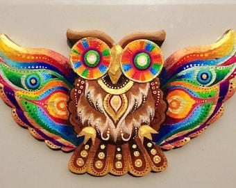 Rainbow owl, Balinese wood craft, psychedelic,