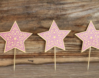 Princess Party, 12-piece star cutout, princess party decoration,Cupcake topper, cake topper, center piece