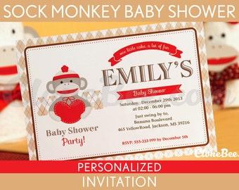 Sock Monkey Baby Shower Invitation Personalized Printable // Sock Monkey - S2Pa2