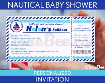 Nautical Baby Shower Invitation Personalized Printable // Nautical - S5Pa4
