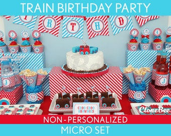 Train Birthday Party Package Collection Set Micro NonPersonalized Printable // Vintage Train - B30Nz1