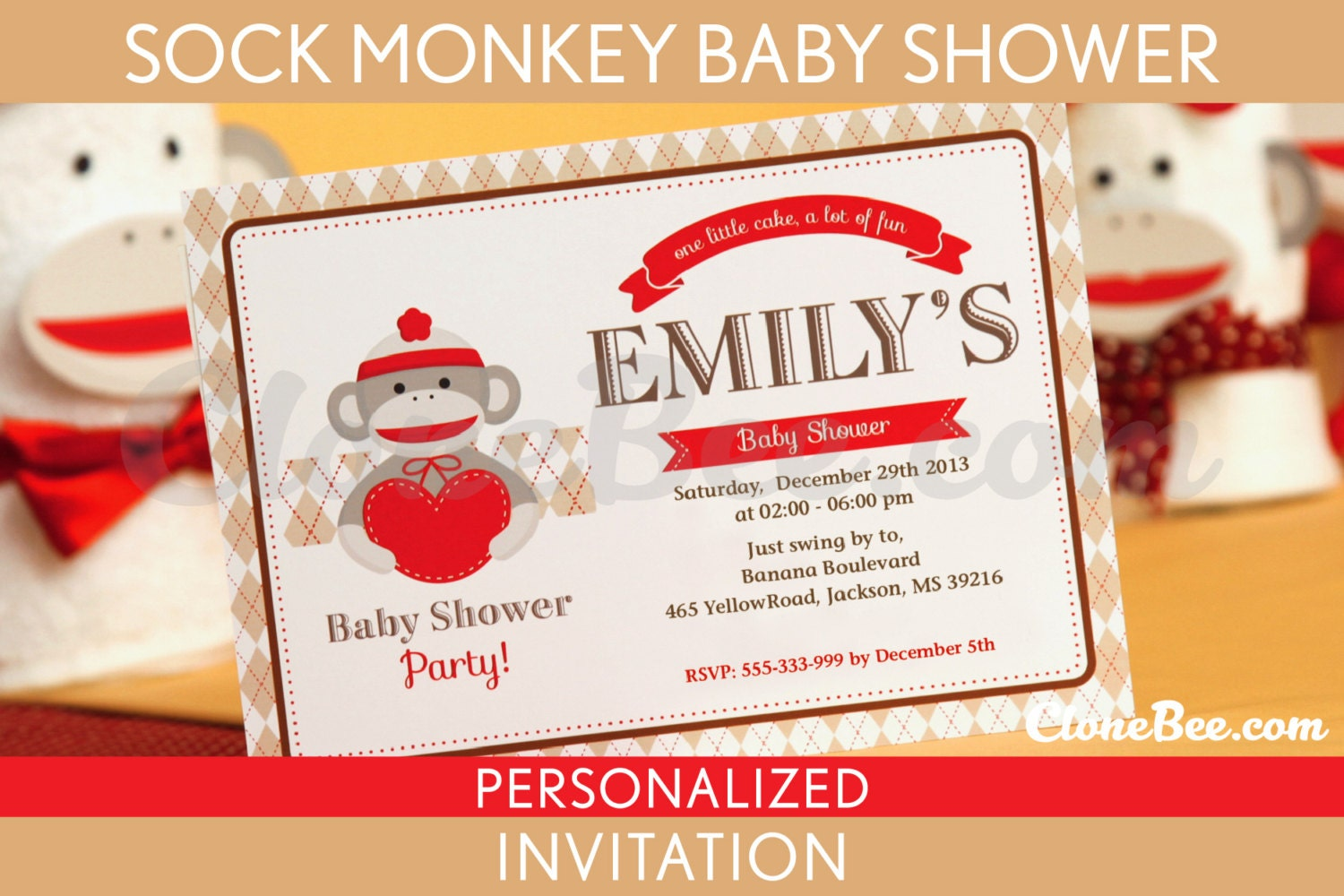 sock monkey baby shower invitation personalized printable