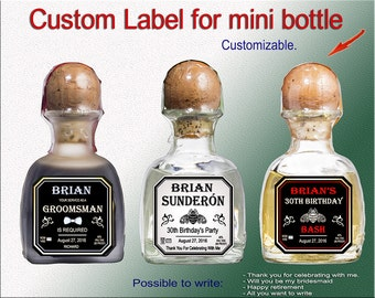 Personalized mini bottle label. Digital labels. Custom tequila label for groomsman. Proposal asking label. Will you be my Best man label.
