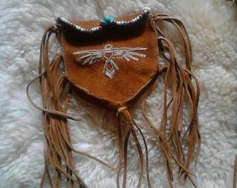 Spirit bird medicine sacred pouch medicine bag tan leather turquoise