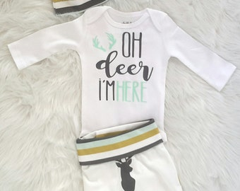 Coming home outfit/newborn outfit/ baby boy/ take home outfit/organic cotton/oh deer I'm here