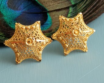 GOLDSHINE Earrings 22K Solid Gold Stud Screw Back Handmade Intricate Filigree