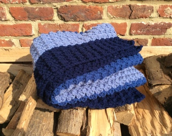 "Winter blanket in ""Warm Shades of Blue"""