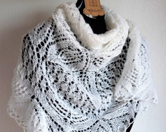 Knitted shawl in 100% white mohair, Haute couture, Handmade