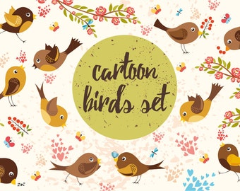 Birds set (vector,jpg,png)