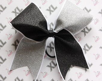 Glitter Tick Tock  Cheer Bow - Black, Silver & White