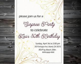 Surprise Birthday Invitation,Shhhhh It's a Surprise,Adult Surprise Birthday Invitation,30th 40th 50th 60th 70th Any Age Bday Invite