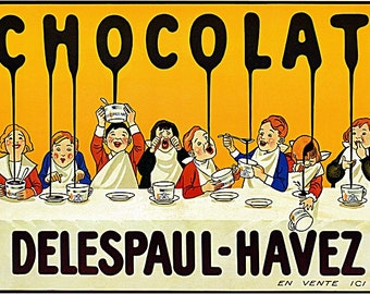 Chocolat  Delespaul Havez Vintage poster print on Paper or Canvas Giclee 13X18 to 44X60
