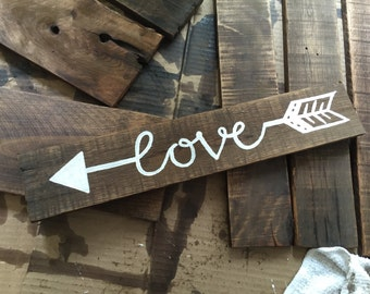 Wood Sign, Rustic Wall Decor, Love Arrow Sign, Wall Art, Wall Decor, Mantle Decor, Love Sign, Rustic Wood Sign, Wall Decoration, Wall Sign