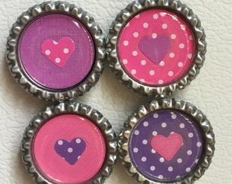 Pink and Purple Heart Magnet Set