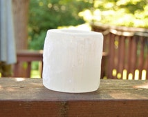 Selenite Candle Holder Stones Minerals Rocks White Translucent Mineral Madness