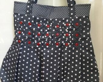 Handmade Shoulder Bag smocking and buttons
