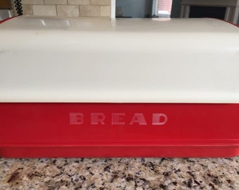Red Lustroware Bread Box