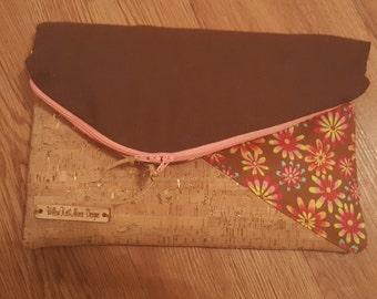 Cork Clutch bag, Foldover clutch,Tainted love Clutch; Clutch; evening bag; small handmade purse;fold-over bag, gold flecked cork clutch