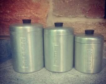 Vintage Metal Canisters Set of 3