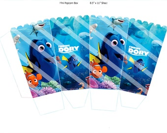 """Finding Dory Mini Popcorn Box, INSTANT DOWNLOAD, Printable party supplies, Birthday Printables, 8.5"""" x 11"""" Sheet Size"""