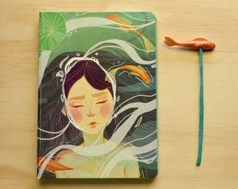 Illustrated notebook with bookmark