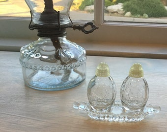 Mini Glass Salt and Pepper Shakers with Glass Tray